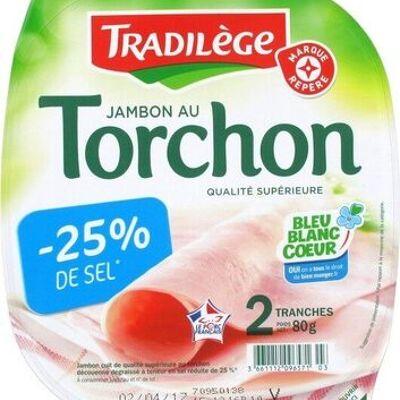 Jambon supérieur au torchon sans couenne 25% de sel en moins 2 tranches (Tradilège)