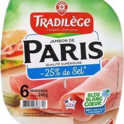 Jambon de paris supérieur 25% de sel en moins x 6 tranches (Tradilège)
