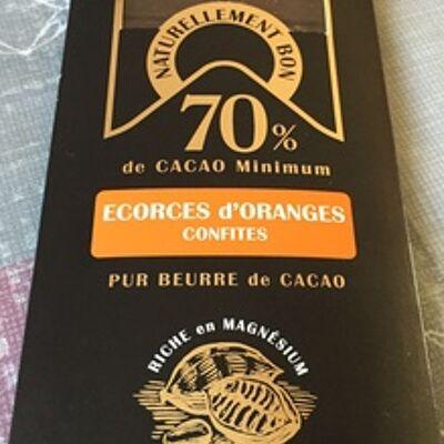 Chocolat 70 % écorces d'orange confites (Chocolaterie saveurs&nature)