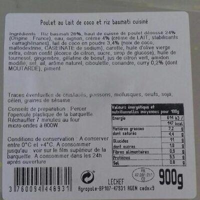 Poulet au lait de coco et riz basmati (Sans marque)