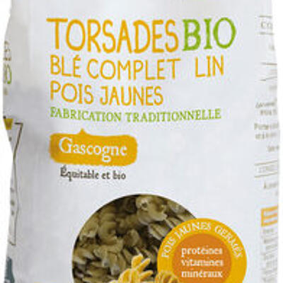 Torsades bio blé complet lin pois jaunes (Paysans d'ici)
