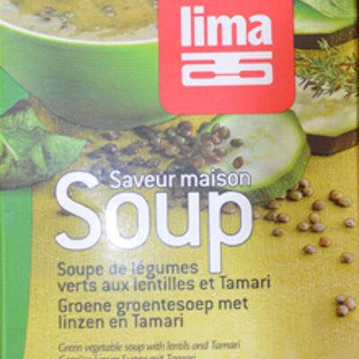 Soupe de légumes verts aux lentilles et tamari (Lima)